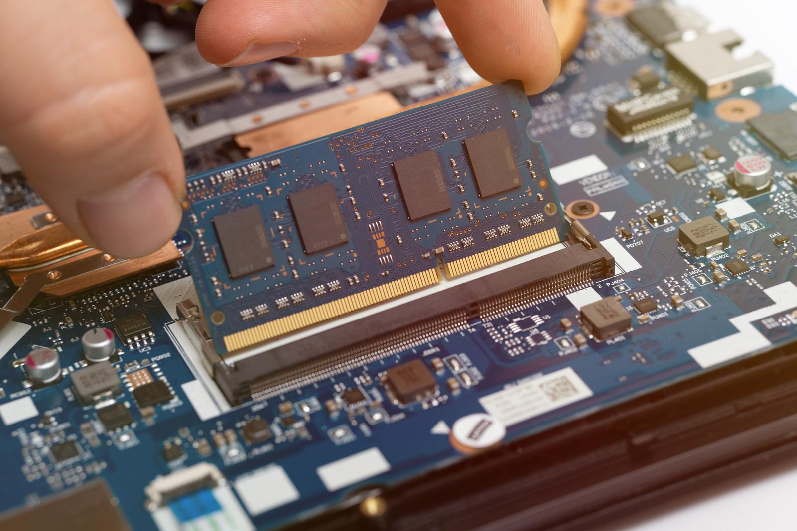 laptop ram memory replacement. improving computer performance. mainboard repair